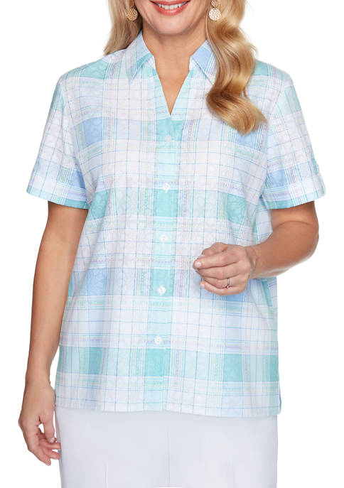 Alfred Dunner Womens Classics Woven Plaid Camp Shirt