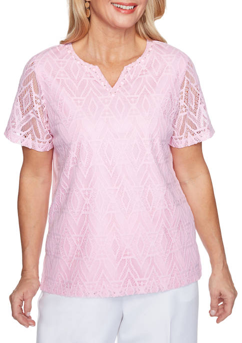 Alfred Dunner Womens Classics Diamond Lace Top