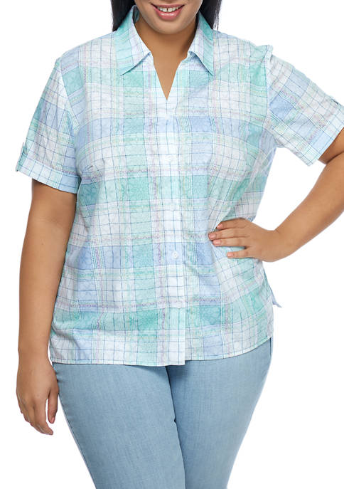 Alfred Dunner Plus Size Button Up Burnout Shirt