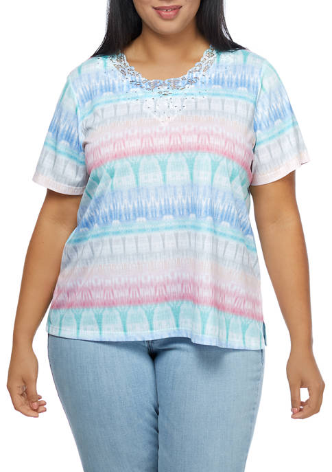 Alfred Dunner Plus Size Short Sleeve Geometric Print