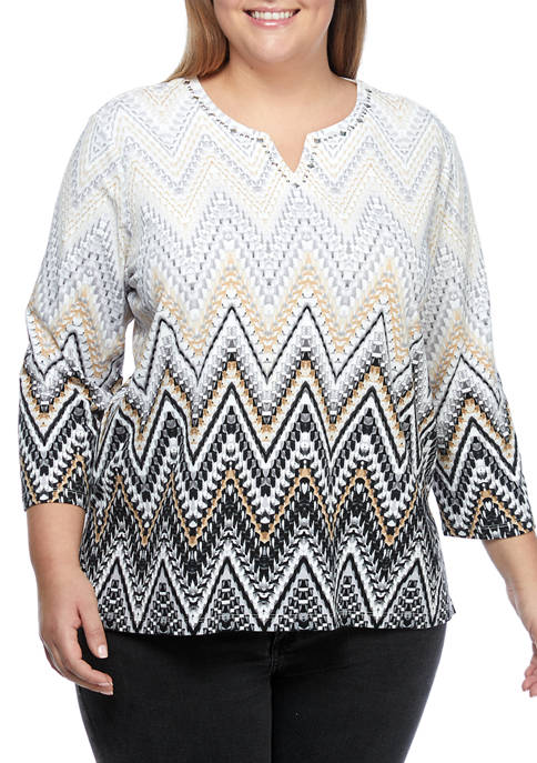 Alfred Dunner Plus Size Classics 3/4 Sleeve Ombré