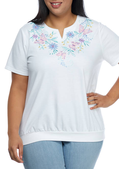 Alfred Dunner Plus Size Short Sleeve Notch Neck