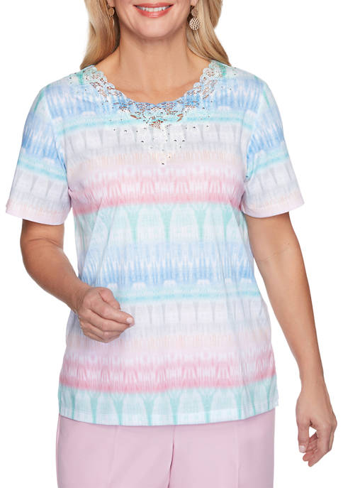 Alfred Dunner Petite Classics Short Sleeve Textured Biadere