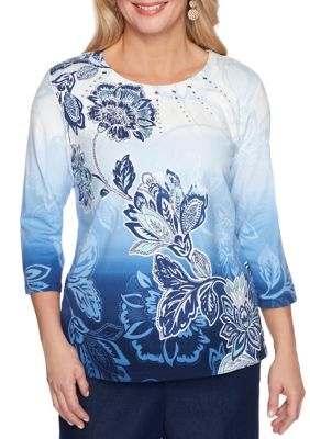 Alfred Dunner Womens Petite Classics 3 4 Sleeve Ombre Floral Top