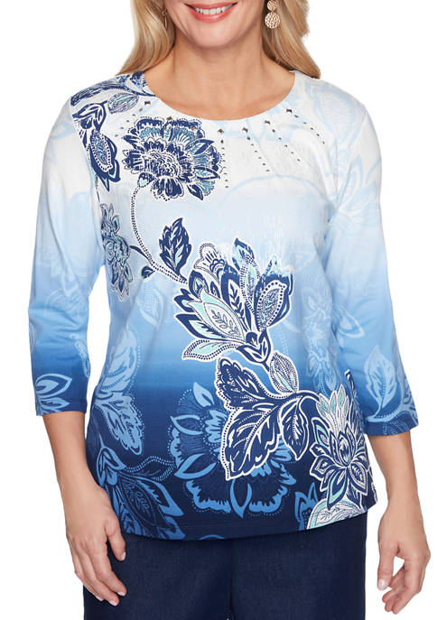 Alfred Dunner Petite Classics 3/4 Sleeve Ombré Floral