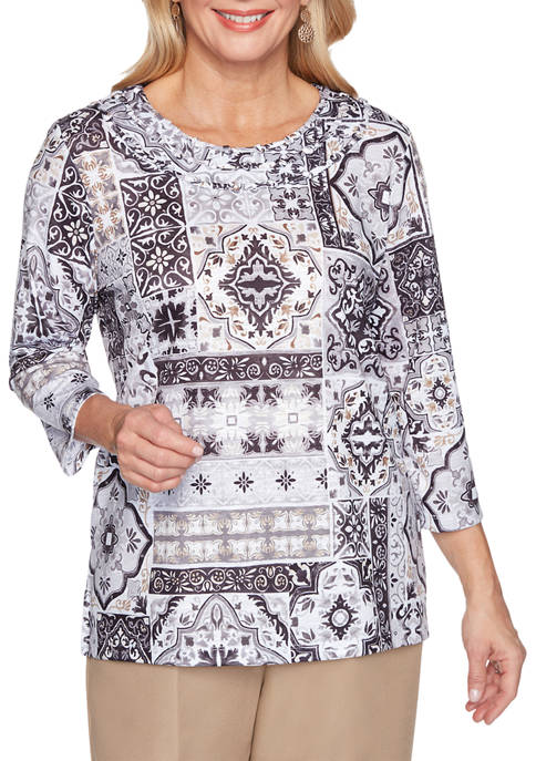 Alfred Dunner Petite Classics 3/4 Sleeve Medallion Patchwork