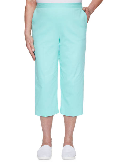 Alfred Dunner Womens Spring Lake Twill Capri Pants