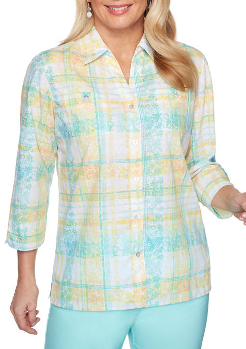 Alfred Dunner Womens Spring Lake Floral Plaid Shirt