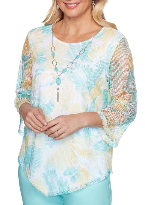 Alfred Dunner Womens Spring Lake Floral Mesh Knit