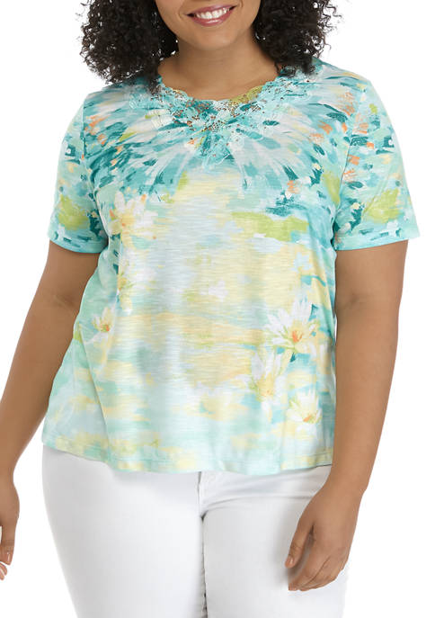 Alfred Dunner Plus Size Brushstroke Top