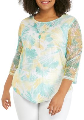 Alfred Dunner Womens Plus Size 3 4 Sleeve Floral Mesh Top