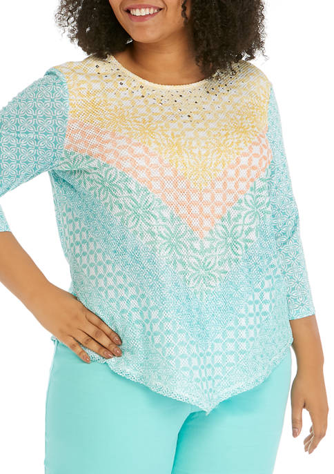 Alfred Dunner Plus Size Chevron Mesh Top