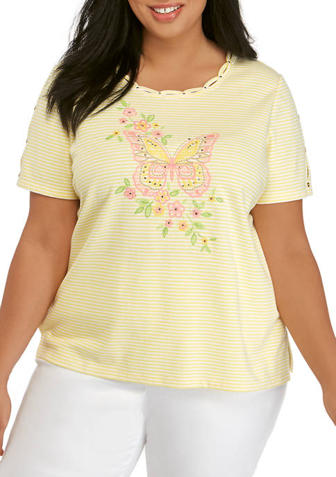 Alfred Dunner Plus Size Short Sleeve Center Butterfly