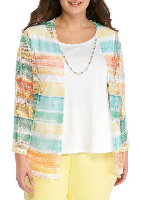Plus Size 3/4 Sleeve Watercolor Stripe T-Shirt