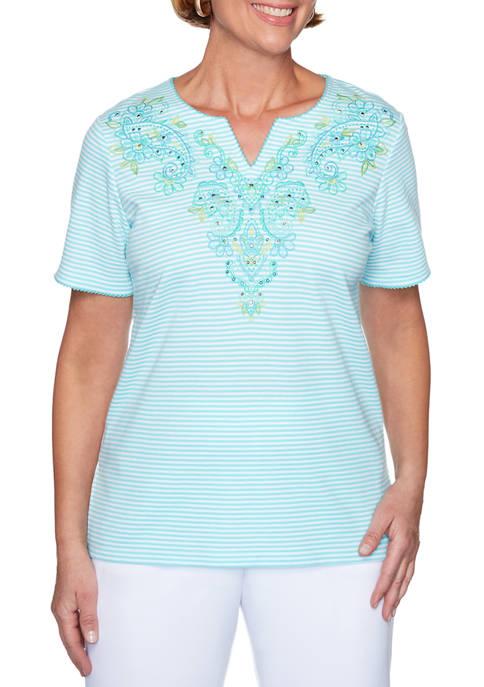 Petite Spring Lake Stripe Yoke Knit Shirt