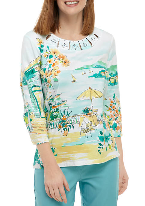 Alfred Dunner Petite Spring Lake Scenic Knit Top