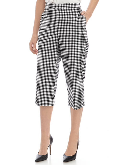 Alfred Dunner Womens Checkmate Check Capri Pants