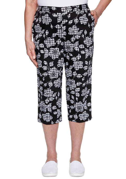 Alfred Dunner Womens Checkmate Capris
