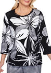 Womens Checkmate Exploded Floral with Gingham Print Top