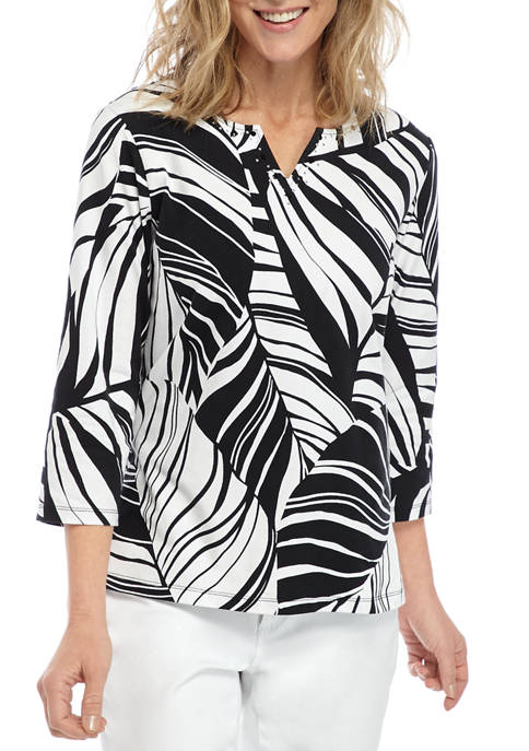 Alfred Dunner Womens Checkmate Tropical Top