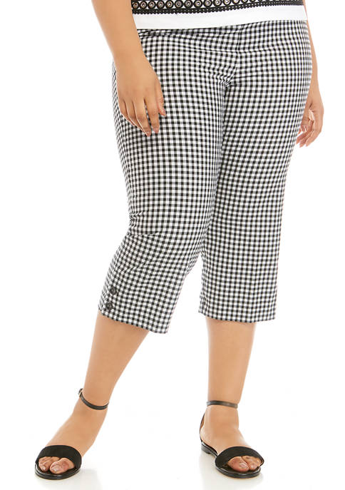 Alfred Dunner Plus Size Checkmate Check Capri Pants