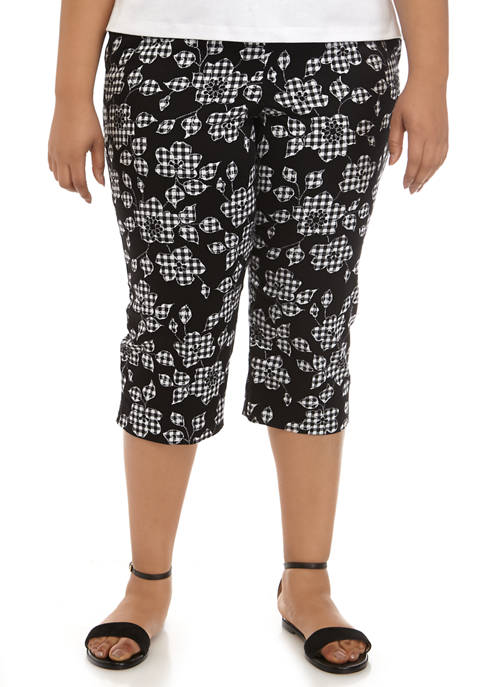 Alfred Dunner Plus Size Checkmate Floral Check Capri