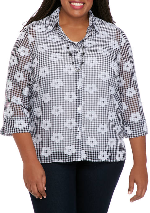 Alfred Dunner Plus Size 3/4 Sleeve Check 2Fer