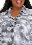 Plus Size 3/4 Sleeve Check 2Fer Top with Necklace