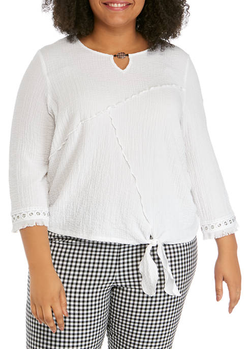 Alfred Dunner Plus Size Checkmate 3/4 Sleeve Tie
