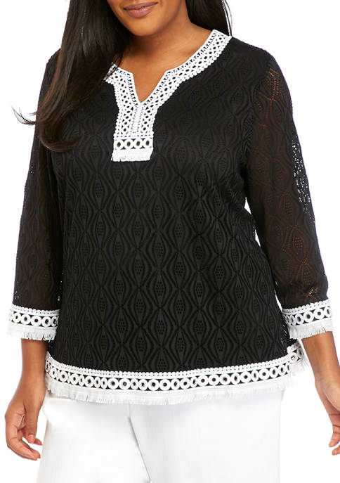 Alfred Dunner Plus Size Checkmate 3/4 Sleeve Textured