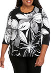 Plus Size Checkmate 3/4 Sleeve Exploded Floral Check Top