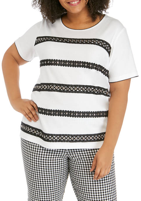 Alfred Dunner Plus Size Checkmate Short Sleeve Grommet