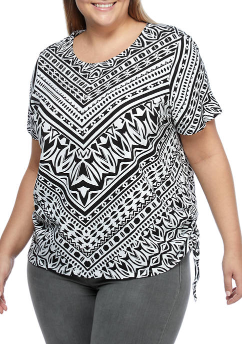 Alfred Dunner Plus Size Checkmate Geometric Chevron Knit