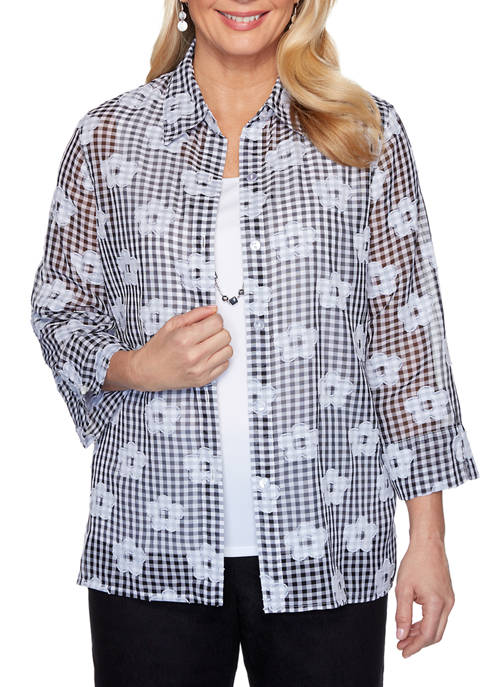 Petite Checkmate Check Flower 2Fer Top