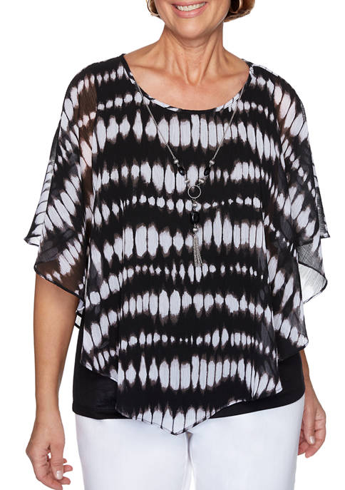 Alfred Dunner Petite Checkmate Tie Dye Flutter Sleeve