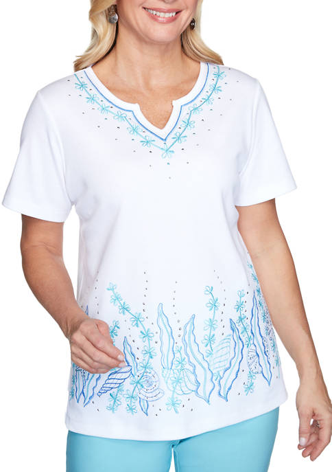 Alfred Dunner Womens See You There Seashells Border