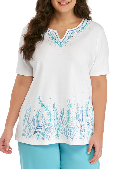 Alfred Dunner Plus SIze Short Sleeve Seashells Top