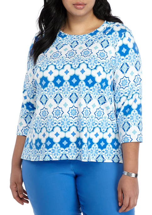 Alfred Dunner Plus Size Sea You There Top
