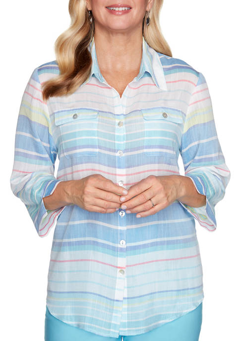 Alfred Dunner Petite Sea You There Stripe Woven
