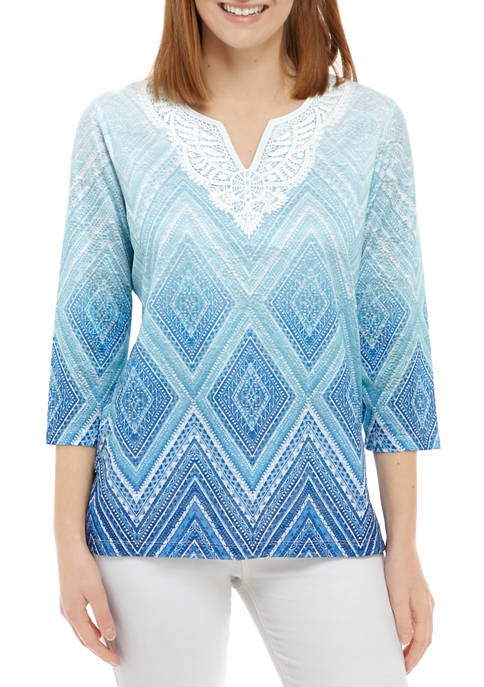Alfred Dunner Petite Sea You There Diamond Lace