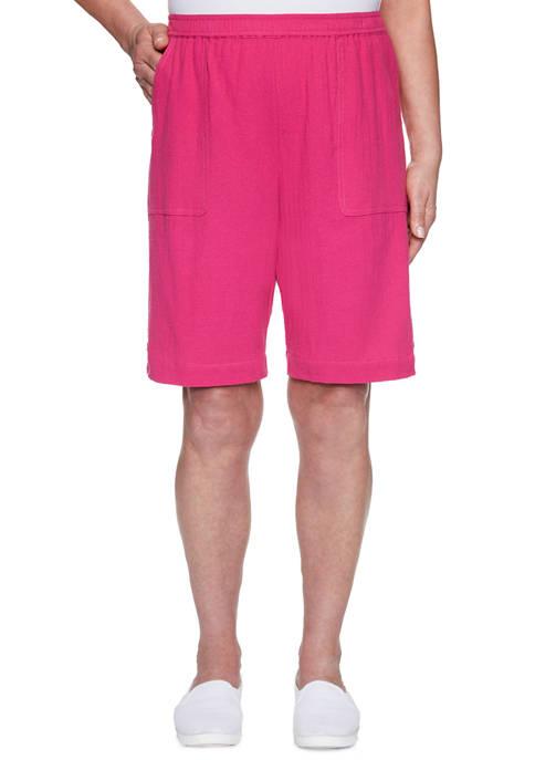 Womens Laguna Beach 2020 Button Trim Gauze Shorts