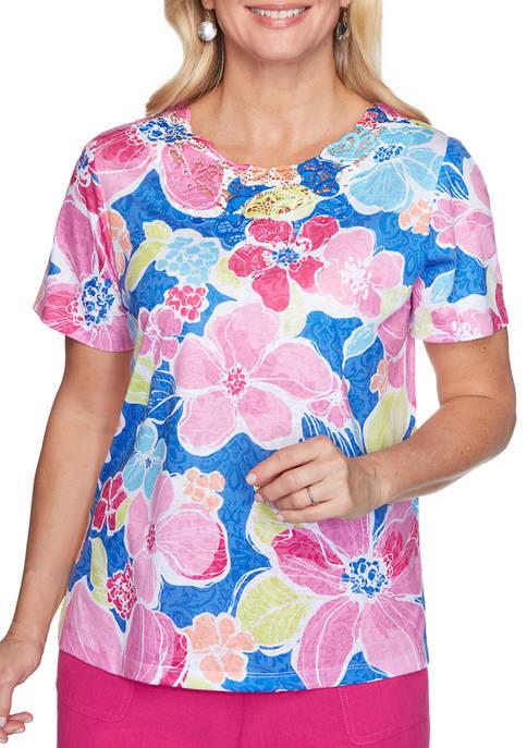Alfred Dunner Womens Laguna Beach Flowers Knit Top