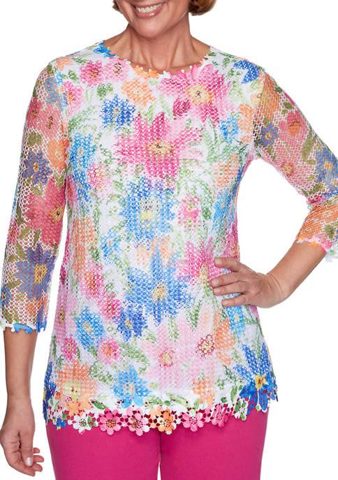 Alfred Dunner Womens Laguna Beach Floral Mesh Knit