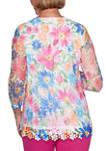 Womens Laguna Beach Floral Mesh Knit Top