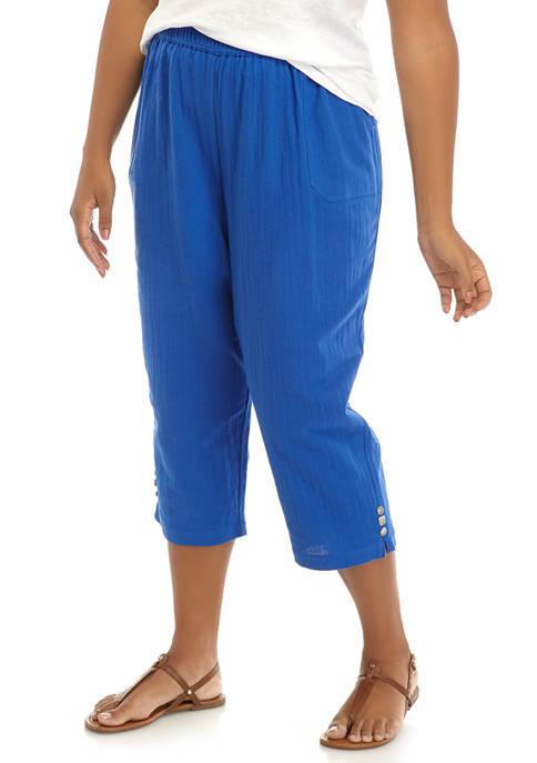 Plus Size Gauze Button Trim Pants