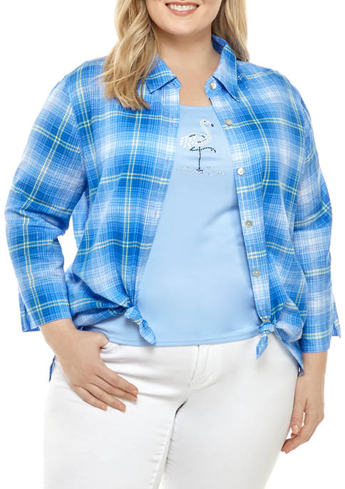 Alfred Dunner Plus Size 3/4 Sleeve Plaid 2Fer