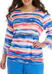 Plus Size 3/4 Sleeve Watercolor Top