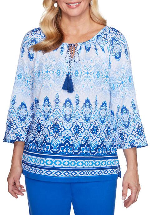 Alfred Dunner Petite Laguna Beach Batik Biadere Shirt
