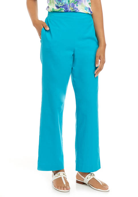 Alfred Dunner Womens Turquoise Skies 2020 Proportioned Pants