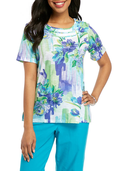 Alfred Dunner Womens Turquoise Skies 2020 Short Sleeve